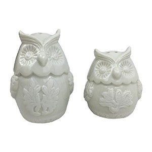 ホワイトフクロウFigural Salt and Pepper Shaker Set