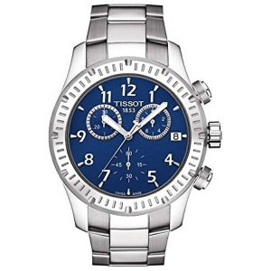 ティソ Tissot 腕時計 メンズ 時計 Tissot V8 Blue Dial Stainless Steel Mens Watch T0394171104703