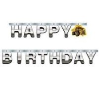 Construction Birthday Zone Large Foil Jointed Banner