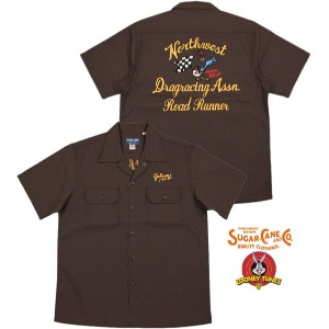 "SUGAR CANE/シュガーケーン MADE IN U.S.A. ROAD RUNNER S/S WORK SHIRT""DRAG RACING ASSN.""ロードランナー背中刺繍入り..."