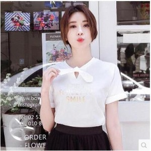 T-shirt female short-sleeved 2017 summer new loose round neck collar bow tie Korean style shirt whit