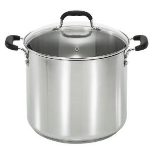 T-fal C88881 Stainless Steel Oven Safe Dishwasher Safe PFOA Free Stock Pot Cookware, 12-Quart,...