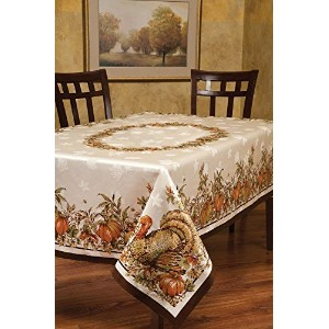 Benson Mills Turkey Festivities Engineered Border Tablecloth, 60 by 104-Inch [並行輸入品]