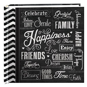 Pioneer Photo Albums 200-Pocket Chalkboard Printed 'Happiness' Theme Photo Album for 4 by 6-Inch...