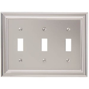 Amerelle 94TTTN Continental Cast Metal Wallplate with 3 Toggle, Satin Nickel [並行輸入品]