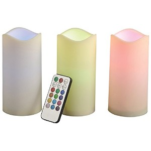 Gerson 3-Piece 6-Inch Indoor/Outdoor Candle Set with Color Changing Remote [並行輸入品]