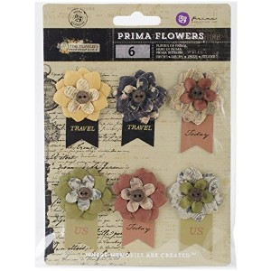 Prima Marketing Time Traveler Flowers Paper, 2.25-Inch, Hard Time with Banner, 6-Pack by Prima...