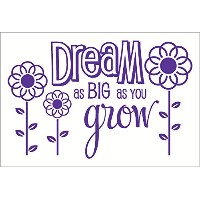 Wall Decor Plus More WDPM2659 Dream As Big As You Grow Wall Sticker, 23-Inch x 15-Inch, Purple ...