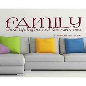 Wall Decor Plus More WDPM2466 Family Where Life Begins and Love Never Ends Home Wall Sticker, 36...