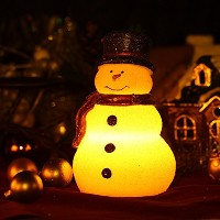 Home impressions Battery Operated Lovely Christmas Snowman with Red Scarf, Real Wax LED Candle and...
