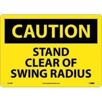 NMC C610RB OSHA Sign, Legend 'CAUTION - STAND CLEAR OF SWING RADIUS', 14' Length x 10' Height,...