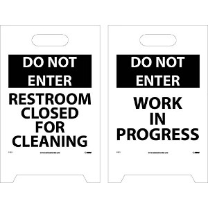 NMC FS22 Double Sided Floor Sign, 'DO NOT ENTER RESTROOM CLOSED FOR CLEANING - WORK IN PROGRESS',...