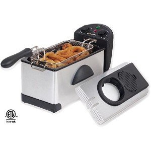 Gourmia GDF-300 3 quart Compact Electric Deep Fryer with Dual Temperature & Timer Dials-Stainless...