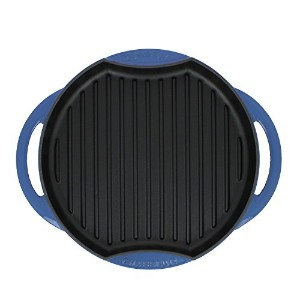 Chasseur 10-inch Blue Round French Enameled Cast Iron Grill Pan [並行輸入品]