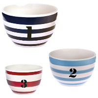 Boston International Ahoy Buoy Ceramic Prep Bowls, Blue, Set of 3 by Boston International [並行輸入品]