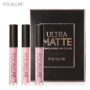 Focallure 3Pcs Lipgloss Liquid Matte Red Metallic Waterproof Lipstick Cosmetics Long Lip Gloss