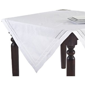 SARO LIFESTYLE 8648 1-Piece Hemstitched Square Tablecloth, 54-Inch, White [並行輸入品]