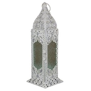 Essential D?cor Entrada Collection Metal Lantern, 16 x 5.5 x 5.5-Inch, White [並行輸入品]