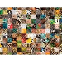 JP London PMUR2001 Peel and Stick Removable Wall Decal Sticker Mural, Animal Skin Patchwork, 4 x 3...