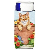 "Caroline 's Treasures cdco0395muk "" Ginger Cat In Pot by Debbie Cook "" Ultra Beverage Insulators..."