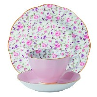 Royal Albert 3-Piece New Country Roses Teacup, Saucer and Plate Set, Rose Confetti by Royal Albert