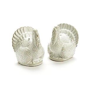 Classic Turkey Salt and Pepper Shaker Set in White Ceramic by Caffco