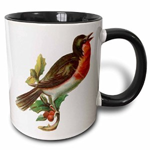 3drose Dooni Designsヴィンテージデザイン–ヴィンテージred-breastedロビンPerched on Holly Branch Bird Illustration–...