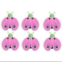 Ladybug Decor 2 Green Pink Mini X-Small Shimmer Nylon Mesh Ladybugs 6 Piece Decorations Set...