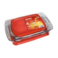 Pyrex簡単グラブwith Lids value-plusパックガラスBakeware – 4 pc
