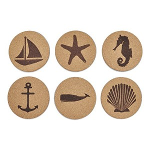 Jetty Home Cork Coaster Nautical Beach Gift Set (6 pcs) by Jetty Home