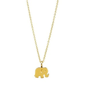 DogearedゴールドDip Good Luck Elephant Reminder Necklace