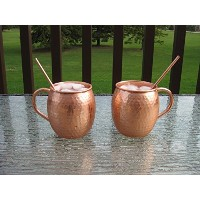 100% Pure Copper Moscow Mule Mug with Pure Copper Straw - Set of 2 by Joyce Imports