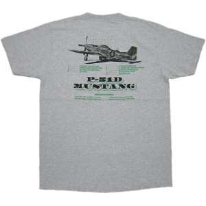 "BUZZ RICKSON'S (バズリクソンズ) P-51 MUSTANG S/S T-SHIRT ""P-51 SPECIFICATIONS"" (半袖バックプリントTシャツ) H.GRAY..."