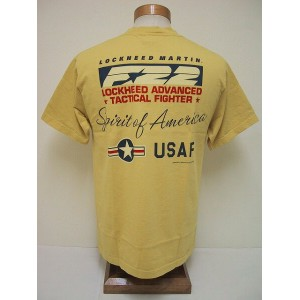 BuzzRickson's[バズリクソンズ] Tシャツ LOCKHEED F-22 TACTICAL FIGHTER (YELLOW)