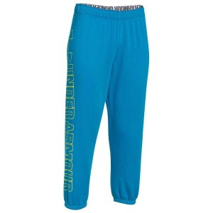 アンダーアーマー レディース ボトムス レギンス【Under Armour Wordmark Fleece Capris】Dynamo Blue/High Vis Yellow