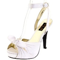 Pin Up Couture - Bettie White Satin Ankle Strap Peep Toe Heels UK 4