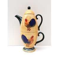Classic Rooster Hand-Painted Collection Tea for One Set by ACK