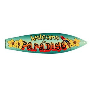 WELCOME TO PARADISE★オウム柄・サーフボード型★アメリカンブリキ看板