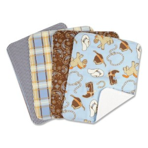 Trend Lab Set of 4 Burp Cloth, Cowboy Baby by Trend Lab