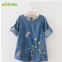 Fashion Baby Girls Denim Dress Children Clothing Autumn Casual Style Girls clothes Butterfly