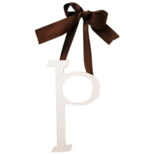 New Arrivals Wooden Letter P with Solid Brown Ribbon, Cream by New Arrivals