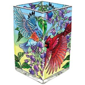 Amia 41597 Songbird Floral Hand-Painted Glass Vase/Votive, 6-Inch [並行輸入品]