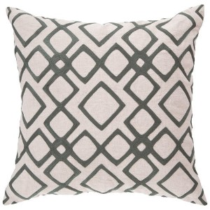 Surya COM-017 Hand Crafted 100% Linen Pewter 18' x 18' Geometric Decorative Pillow [並行輸入品]