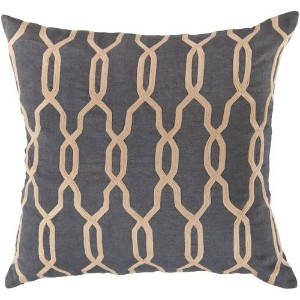 Surya COM-001 Hand Crafted 100% Linen Mediterranean Blue 18' x 18' Geometric Decorative Pillow ...