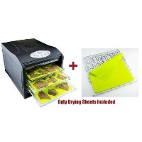 """Samson """"Silent"""" Dehydrator PACKAGE WITH 6 qty Non Stick Silicone Drying Sheets 6-Tray with Digital..."""