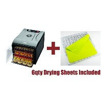 Aroma Professional Dehydrator BONUS PACKAGE WITH 6 qty Non Stick Silicone Drying Sheets 6 Tray...