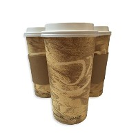 24ozホットPaper Cups with Lids and Sleeves 50パック