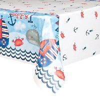 Unique Party 58173 7 x 4.5 Ft Nautical Boys 1st Birthday Plastic Tablecloth