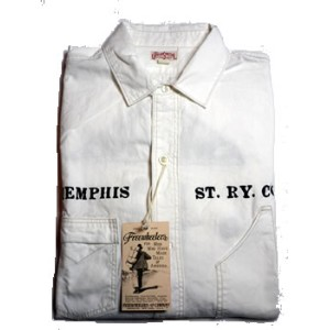 """FREEWHEELERSCONTUCTOR S/S SHIRTS""""THE MEMPHIS STREET RAILWAY COMPANY""""#1123013VINTAGE WHITE CHAMBRAY"""