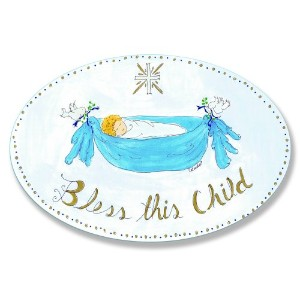 The Kids Room by Stupell Bless This Child with Baby in Blue Hammock Oval Wall Plaque by The Kids...